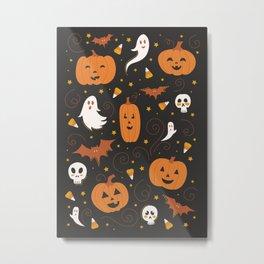 Pumpkin Party - Black Metal Print