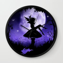 fairy in the moonlight Wall Clock