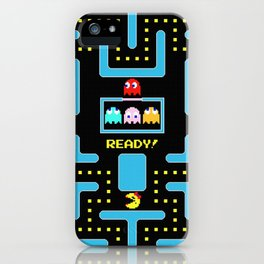 pac-man blue iPhone Case