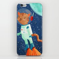 space cat iPhone & iPod Skins featuring Space Cat by Stephanie Fizer Coleman