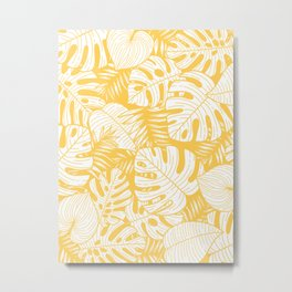 TROPICAL LEAVES ON YELLOW Metal Print