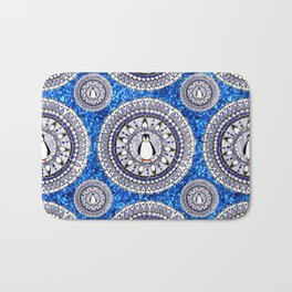 Blue Sparkle Holiday Penguin Mandala Textile Bath Mat