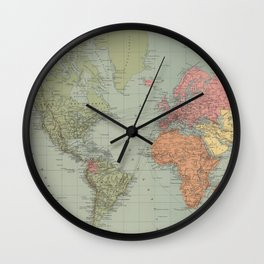 Vintage Map of The World (1889) Wall Clock