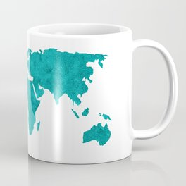 Turquoise Metallic Foil World Map Coffee Mug