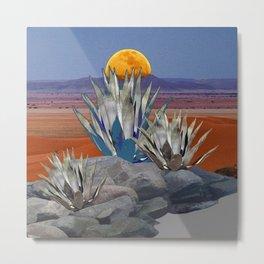 DESERT MOON AGAVE  LANDSCAPE CACTUS ART Metal Print