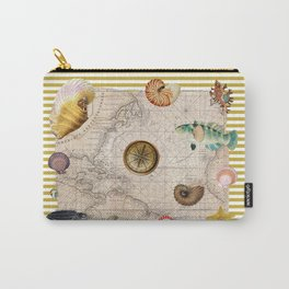 Marine Treasures Mustard Yellow Stripes Carry-All Pouch