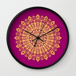 Gold yoga mandala Indian henna pattern Wall Clock