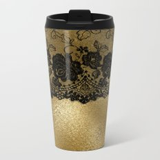 Black luxury lace on gold glitter effect metal- Elegant design on #Society6 Metal Travel Mug