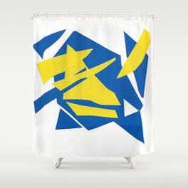 Abstract blue one Shower Curtain