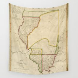 Map of Illinois 1818 Wall Tapestry