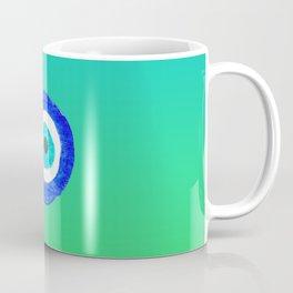 Single Evil Eye Amulet Talisman Ojo Nazar - ombre lime to tuquoise Coffee Mug