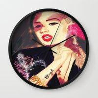 iggy azalea Wall Clocks featuring Iggy Azalea by The Expression Studio