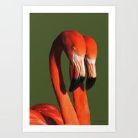 flamingos Art Prints featuring Flamingos by DiDi Higginbotham