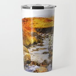 Brook at Honister Pass, Buttermere, Lake District, England. Watercolour Painting. Travel Mug