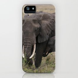 Wild Elephant Mother and Child iPhone Case
