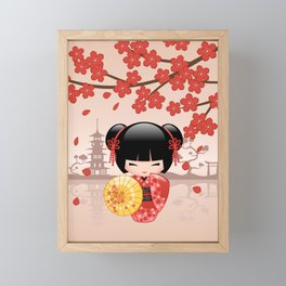 Japanese Red Sakura Kokeshi Doll Framed Mini Art Print