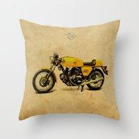 ducati Throw Pillows featuring Ducati 750 GT 1973 by Larsson Stevensem