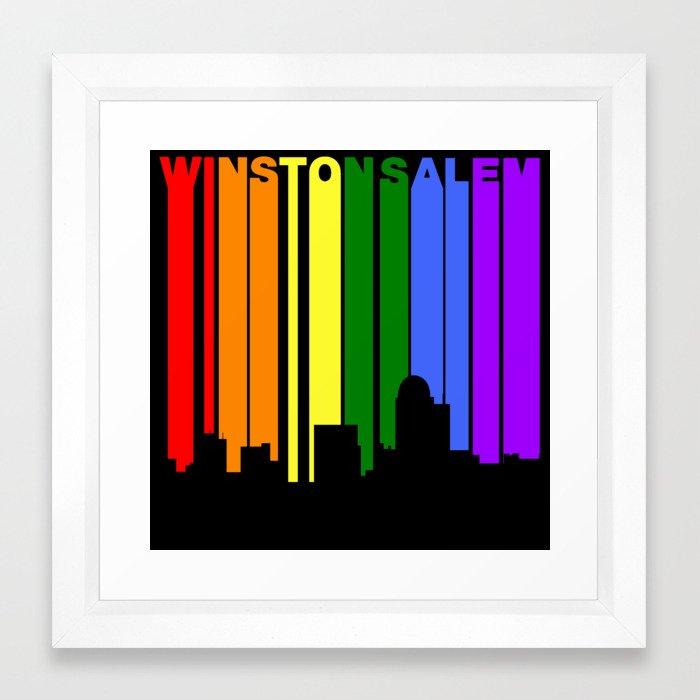 Winston-Salem North Carolina Gay Pride Skyline Framed Art Print by ...