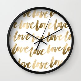 Gold Love Quote Pattern Typography Script 2 Wall Clock