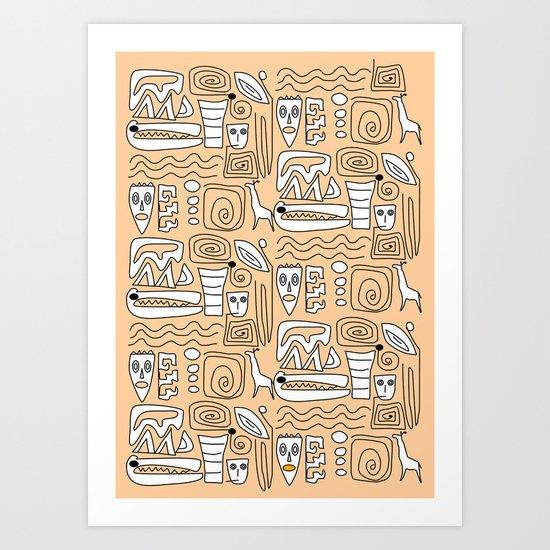 African Tribal  Symbols Art Print