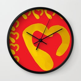 Gold Hearts on Red Wall Clock