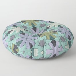 Star Pattern Green and Blue Floor Pillow