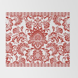 Damask in red Throw Blanket
