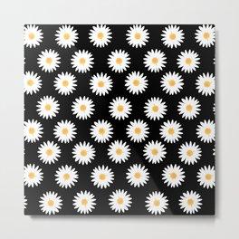 Daisy black pattern Metal Print