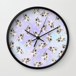 Pastel Space Pups Wall Clock