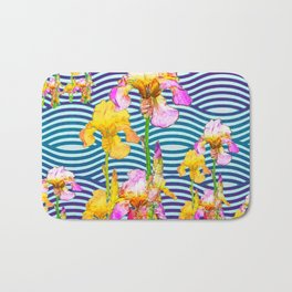 Colorful Iris Water Garden Art Pattern Bath Mat