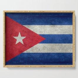 Flag of Cuba - vintage retro version Serving Tray