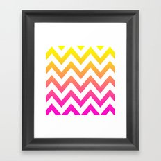 PINK & YELLOW CHEVRON FADE Framed Art Print