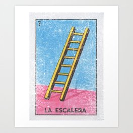 La Escalera Mexican Loteria Bingo Card Art Print