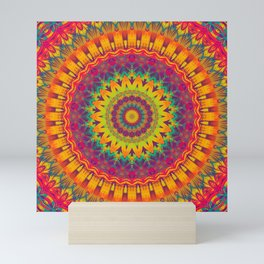 Mandala 073 (Neon) Mini Art Print
