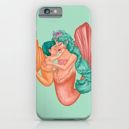 Mermaid Mommy and Baby Boy iPhone Case