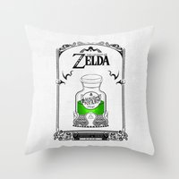 the legend of zelda Throw Pillows featuring Zelda legend - Green potion  by Art & Be