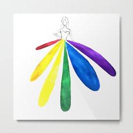 Rainbow Gown Metal Print