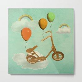 in my world, we bike from cloud to cloud ! Metal Print