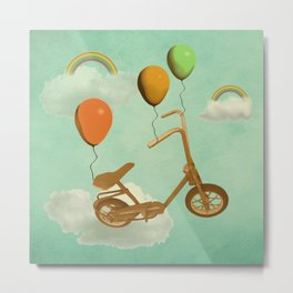 in my world, we bike from cloud to cloud ! Metal Print