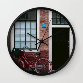 Iconic Dutch house with a red bicycle | Amsterdam, Holland | Colorful cityscape travel photography Wall Clock
