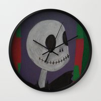 jack skellington Wall Clocks featuring JACK SKELLINGTON/NIGHTMARE BEFORE CHRISTMAS by Kathead Tarot/David Rivera