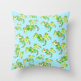 Cute Christmas dragons wrapped in lights pattern Throw Pillow