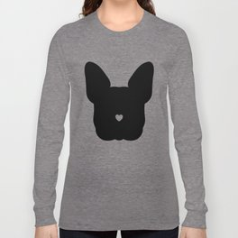 French-Bulldog Face Black Heart Nose Baby Frenchie Long Sleeve T-shirt