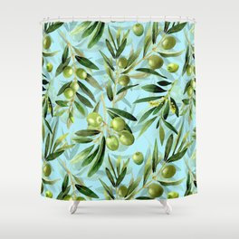 mediterranean summer olive branches on turquoise Shower Curtain