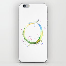 Letter O watercolor - Watercolor Monogram - Watercolor typography - Floral lettering iPhone Skin