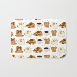 Breakfast Time Pattern on (Egg) White Bath Mat