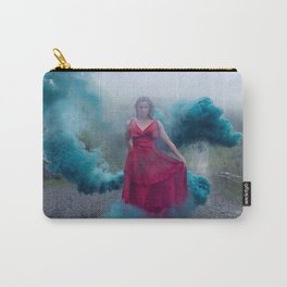 Beautiful, young and sexy female vampire style in a red dress with smoke outdoors. Carry-All Pouch