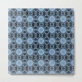 Airy Blue Floral Abstract Metal Print