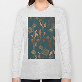 Art Deco Copper Flowers Long Sleeve T-shirt