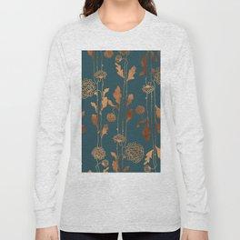 Art Deco Copper Flowers Long Sleeve T-shirt